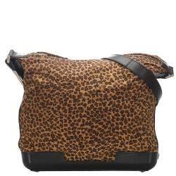 Bottega Veneta Brown/Black Nylon Leopard Print Shoulder Bag
