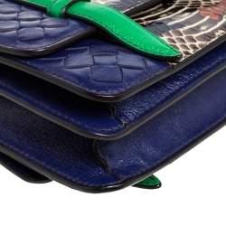 Bottega Veneta Multicolor Intrecciato Leather and Python Double Side Flap Baguette Bag