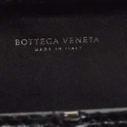 Bottega Veneta Black Intrecciato Satin and Python Stretch Knot Clutch