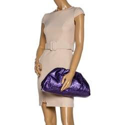 Bottega Veneta Metallic Purple Crinkled Leather The Pouch Clutch
