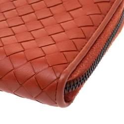 Bottega Veneta Orange Intrecciato Leather Zip Around Wallet