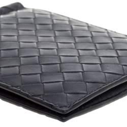 Bottega Veneta Dark Grey Intrecciato Leather Money Clip Bifold Wallet