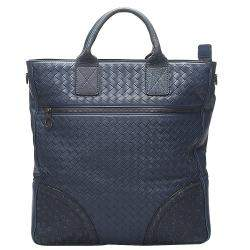 Bottega Veneta Blue Intrecciato Leather Satchel