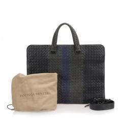 Bottega Veneta Black Intrecciato Leather Business Bag