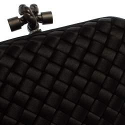 Bottega Veneta Black Intrecciato Satin Knot Clutch