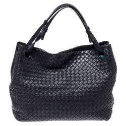 Bottega Veneta Navy Blue Intrecciato Leather Seamless Garda Tote