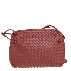 Bottega Veneta Brown Intrecciato Leather Nodini Crossbody Bag
