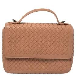 Bottega Veneta Pink Intrecciato Leather Alumna Top Handle Bag