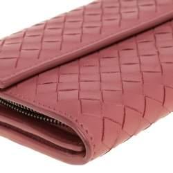 Bottega Veneta Old Rose Intrecciato Leather Continental Flap Wallet