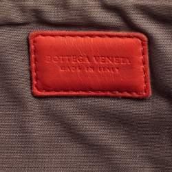 Bottega Veneta Coral Red Intrecciato Leather Clutch Bag
