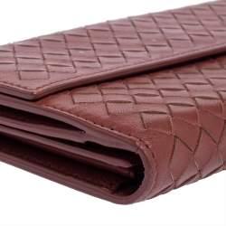 Bottega Veneta Copper Intrecciato Leather Continental Flap Wallet