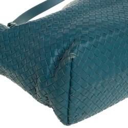 Bottega Veneta Green Intrecciato Leather Garda Tote