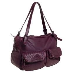 Bottega Veneta Dark Magenta Intrecciato Leather Front Pockets Shoulder bag