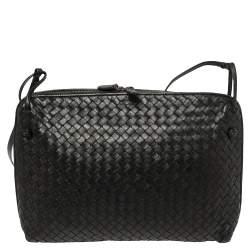 Bottega Veneta Black Intrecciato Leather Large Nodini Crossbody Bag