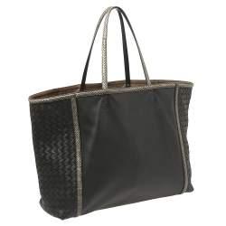 Bottega Veneta Black Intrecciato Leather and Ayers Trim Shopper Tote