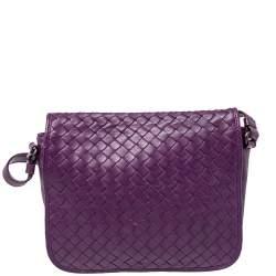 Bottega Veneta Purple Intrecciato Leather Flap Crossbody Bag
