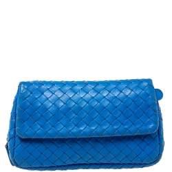 Bottega Veneta Blue Intrecciato Leather Flap Chain Crossbody Bag
