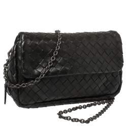 Bottega Veneta Black Intrecciato Leather Flap Chain Crossbody Bag