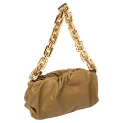 Bottega Veneta Olive Green Leather Chain Pouch Shoulder Bag