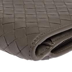 Bottega Veneta Grey Intrecciato Leather Long Wallet