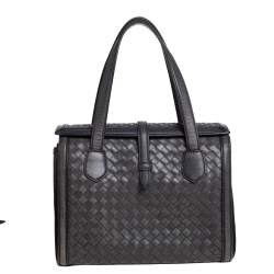 Bottega Veneta Grey Intrecciato Leather Flap Tote