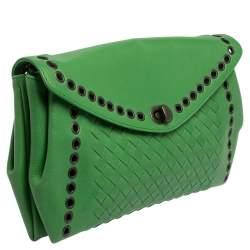 Bottega Veneta Green Intrecciato Leather Grommet Flap Clutch