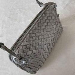 Bottega Veneta Metallic Grey Intrecciato Leather Nodini Crossbody Bag