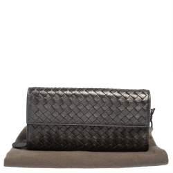 Bottega Veneta Metallic Grey Intrecciato Leather Flap Continental Wallet