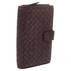 Bottega Veneta Plum Intrecciato Leather Continental Wallet