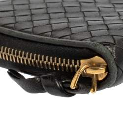 Bottega Veneta Black Intrecciato Leather Zip Around Wallet
