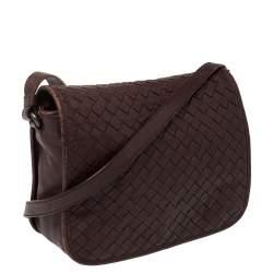 Bottega Veneta Burgundy Intrecciato Leather Flap Crossbody Bag