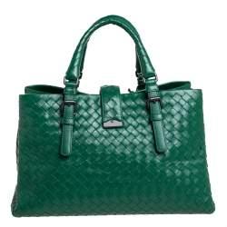 Bottega Veneta Green Intrecciato Leather Small Roma Tote