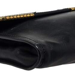Bottega Veneta Black Waxed Leather Clutch