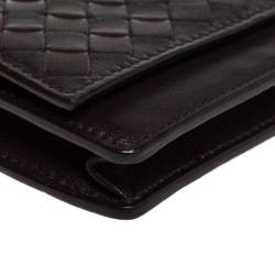 Bottega Veneta Brown Intrecciato Leather Business Card Holder