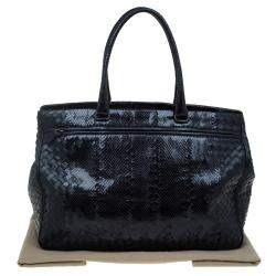 Bottega Veneta Black Woven Leather and Python Tote