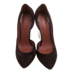 Bottega Veneta Two Tone Suede and Patent Leather Cut Out Wedge Pumps Size 38.5