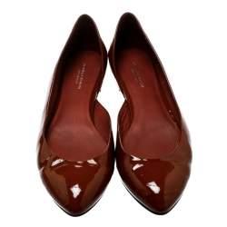Bottega Veneta Brown Patent Leather D'orsay Ballet Flats Size 38.5