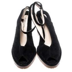 Bottega Veneta Black Intrecciato Suede Espadrille Ankle Strap Wedge Sandals Size 40