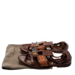 Bottega Veneta Brown Intrecciato Gladiator Sandals Size 36.5