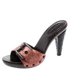 Bottega Veneta Salmon Pink Alligator Leather Intrecciato Heel Mules Size 37.5