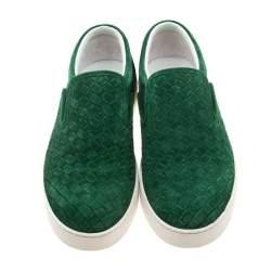 Bottega Veneta Green Intrecciato Suede Slip On Sneakers Size 39