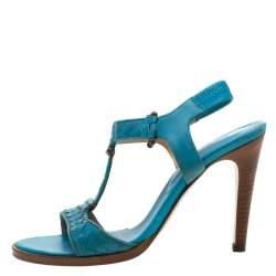 Bottega Veneta Blue Intrecciato Leather T Strap Sandals Size 37