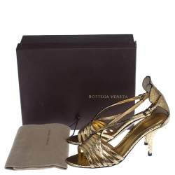 Bottega Veneta Metallic Gold Crackled Leather Strappy Sandals Size 39.5