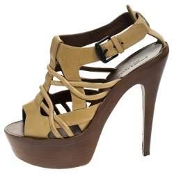Bottega Veneta Beige Leather Cutout Platform Ankle Strap Sandals Size 37.5
