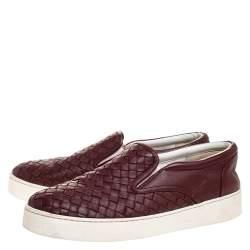 Bottega Veneta Burgundy Intrecciato Leather Dodger Slip On Sneakers Size 38