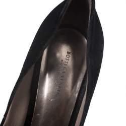 Bottega Veneta Black Velvet Peep Toe Platform Pumps Size 40