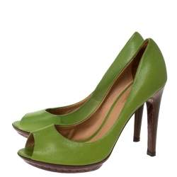 Bottega Veneta Green Leather Peep Toe Platform Pumps Size 38