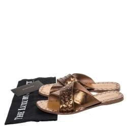 Bottega Veneta Metallic Bronze Intrecciato Leather Cross Strap Flats Size 37