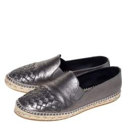 Bottega Veneta Metallic Gunmetal Leather Intrecciato Leather Espadrille Sneakers Size 38