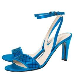 Bottega Veneta Blue Satin Intrecciato Stitch Detail Ankle Strap Sandals Size 39
